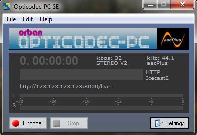 Como transmitir ao vivo usando Opticodec PC-SE
